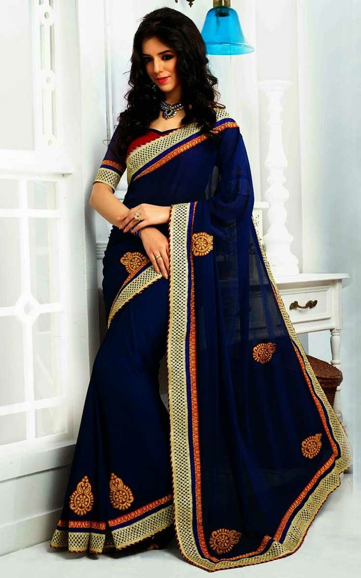 BLUE & RED FAUX GEORGETTE LATEST SAREE - SKY 1013