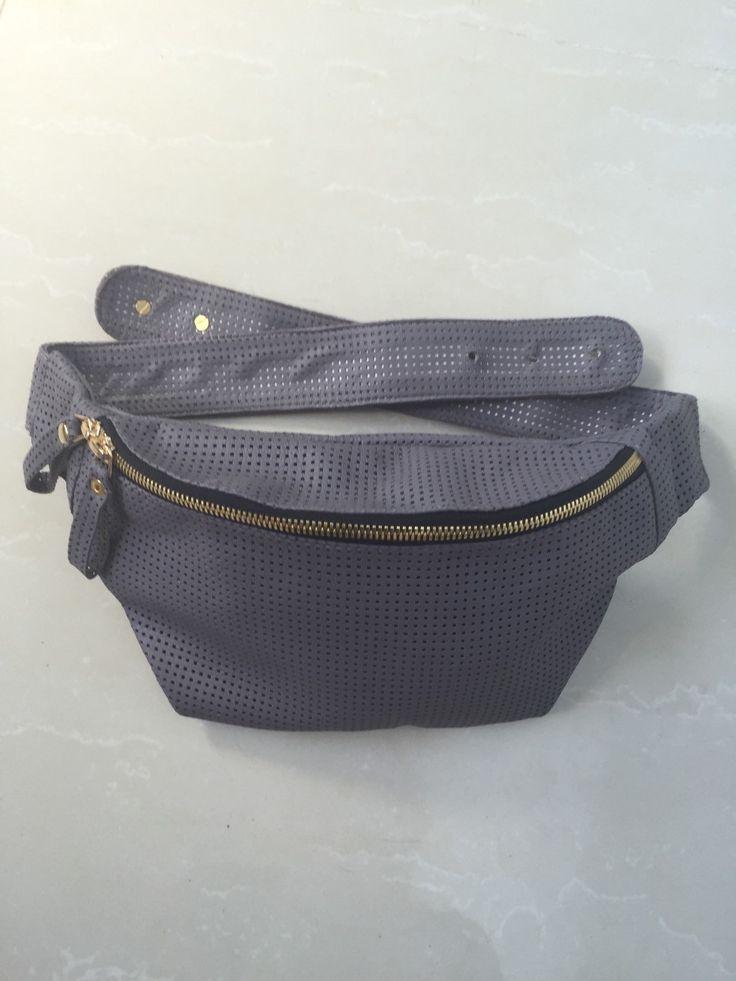 Perforated Leather Belt Bag. Genuine Leather hip bag. Natural Leather Fanny Pack. Sheep Leather Belt Bag. Soft Fanny Pack. by StudioANTU on Etsy