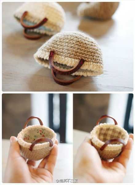 mini crochet bag could totally be a Barbie Doll purse! Lol
