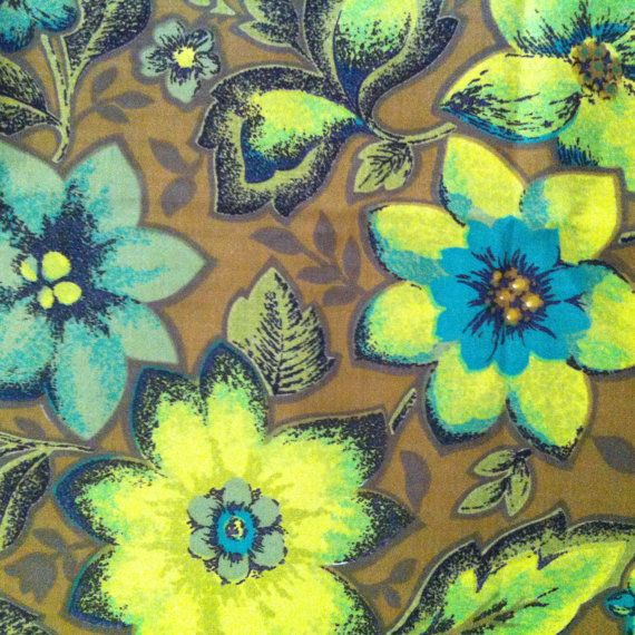 50s vintage green flower pure cotton fabric 1.7m by NeonPonyFabric