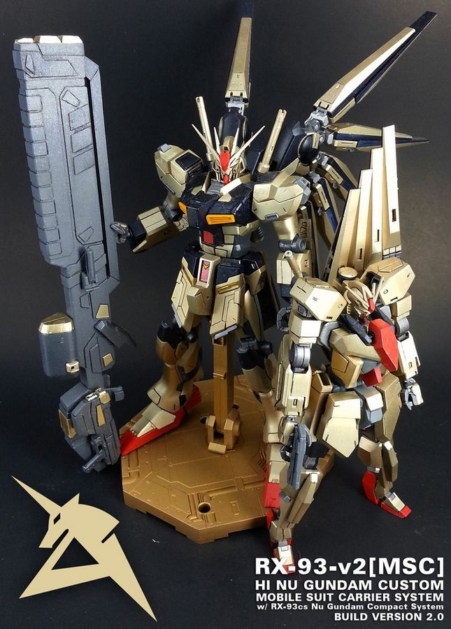 MODELER:  Patrick  MODEL TITLE:  RX-93-v2[MSS]: Hi Nu Gundam MultiStrike System  MODIFICATION TYPE:  custom color scheme, kit bash, custom d...