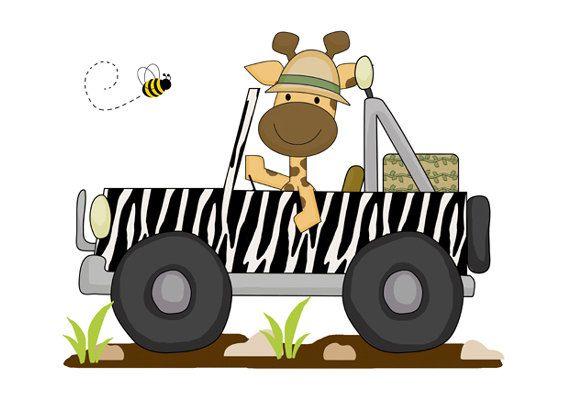 SAFARI NURSERY DECAL Giraffe Wall Art Jungle Animal Stickers Decor Baby Boy Transportation Vehicle Car Jeep Room Kids Bedroom Decorations #decampstudios
