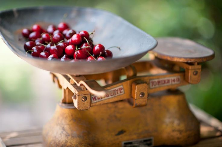 Vintage Scale topped with fresh cherries