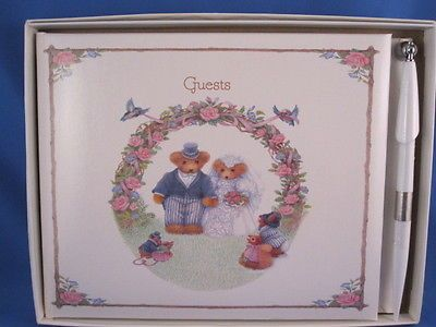 HALLMARK GUEST BOOK FOR WEDDING, HAS BEARS ON THE FRONT COVER.
