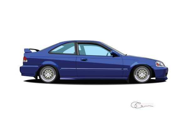 1999 Honda Civic Si Print – J7Artwork