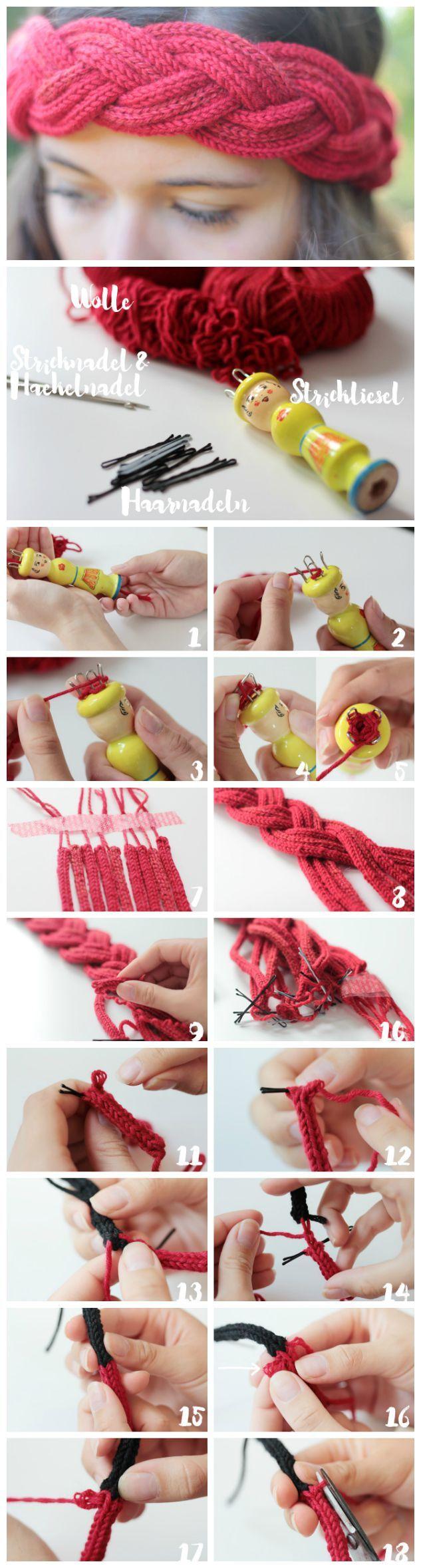 Anleitung für ein Stirnband aus Stricklieslgarn unter http://blog.makerist.de/diy-strickliesel/
