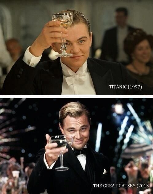 Leonardo DiCaprio toasts as Jack Dawson in Titanic (1997) and 16 years later in The Great Gatsby as Jay Gatsby (2013)