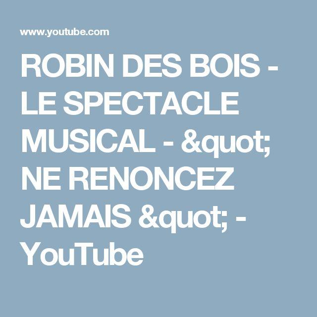 """ROBIN DES BOIS - LE SPECTACLE MUSICAL - """" NE RENONCEZ JAMAIS """" - YouTube"""