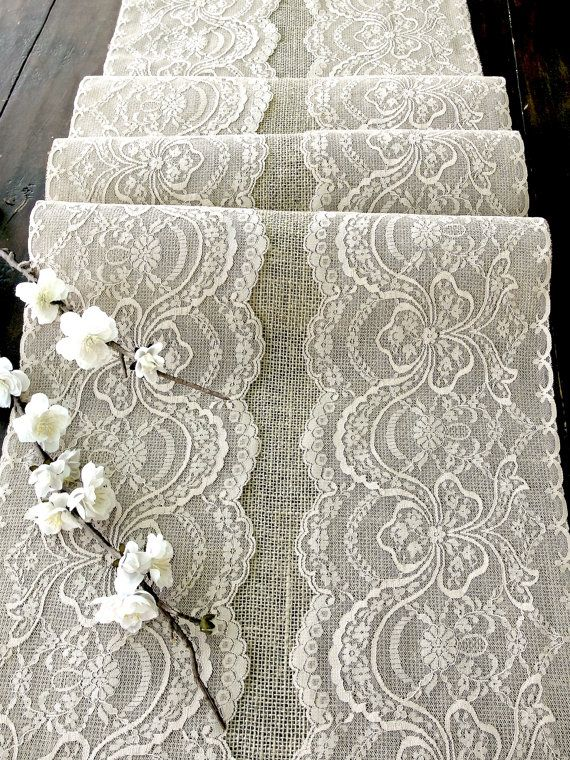 Wedding table runner with beige  lace rustic chic wedding tablecloth, burlap and lace table runner, handmade in the USA, on Etsy, $29.00