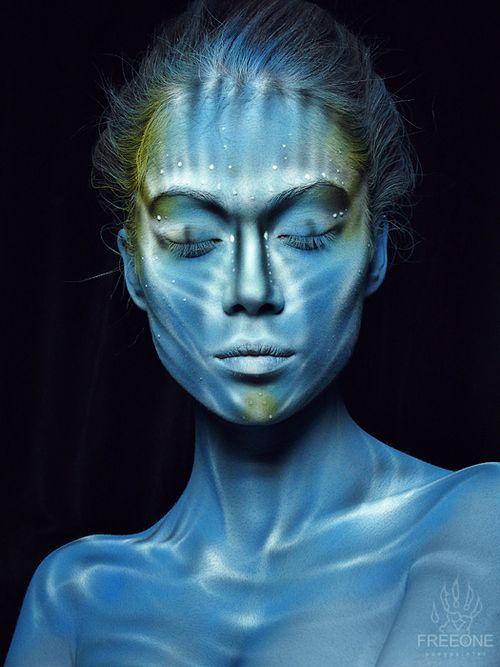 blue face.