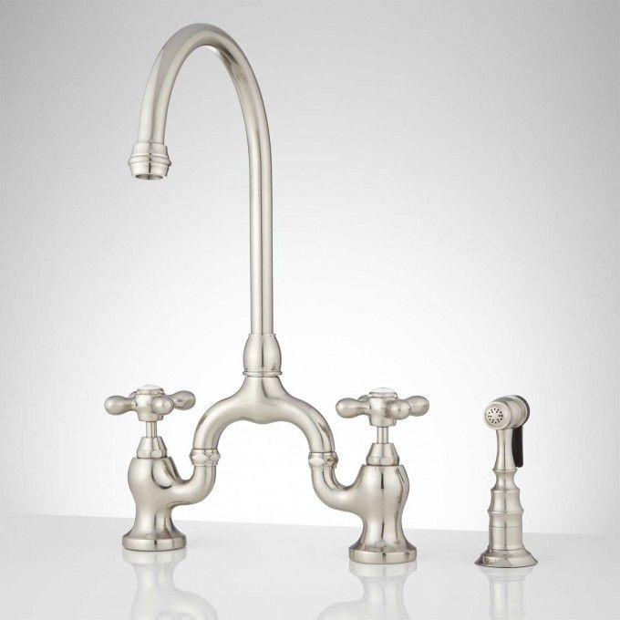 Ponticello Bridge Kitchen Faucet With Side Spray Cross