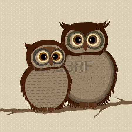 Pair of owls on a branch on beige background with dots photo