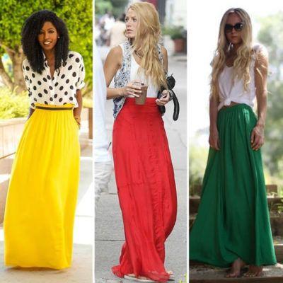 saias compridas coloridas
