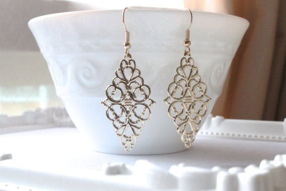 air force one on sale Gold Filigree Earring  Boho Chic Moroccan Bohemian by redsister
