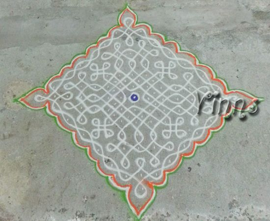 15 dots sikku kolam which I drew and outlined with tricolour on Independence  day.