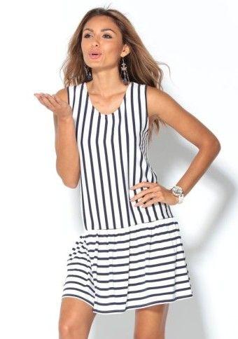 Proužkované šaty bez rukávů #ModinoCZ #dress #šaty #navy #kiss