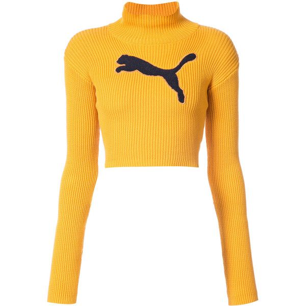 Fenty X Puma cropped logo turtleneck jumper ($190) ❤ liked on Polyvore featuring tops, sweaters, blusas, shirts, cropped sweater, turtle neck crop top, long sleeve crop sweater, turtleneck crop tops and turtle neck sweater