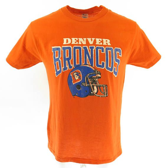 Vintage 80s Denver Broncos T-shirt Mens L Champion 50/50 NFL Football USA Made [H57B_0-7]