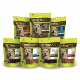 These Smiling Dog Treats are the best of the best!  Healthy and in a variety of flavors, you can't go wrong.  Try our freeze dried or dry roasted treats today!