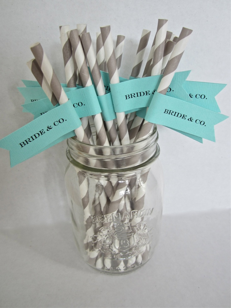 25 Custom Paper Straws with Flag/ Bride & Co/ Tiffany Blue/ Bridal Shower/ Wedding/Choose Your Colors. $17.00, via Etsy.