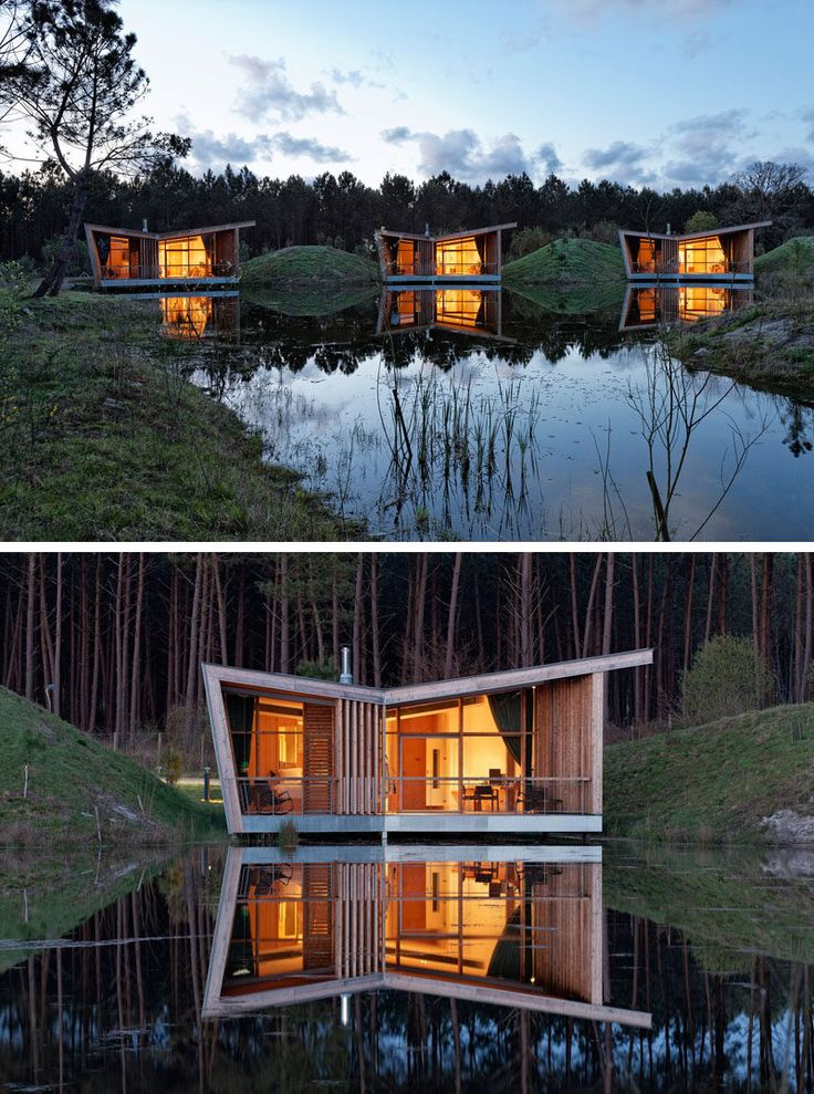 At night, each villa of this eco-resort in France, lights up like a lantern and the reflections are cast onto the still water.