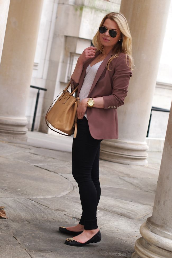Reiss Laurel Oak Blazer Prada tote in Noisette Michael Kors Oversized Watch Serena Reptile flats by Tory Burch  http://www.yummyjenni.com
