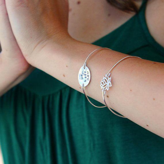 Lotus Flower Jewelry, Simple Sterling Silver Bangle Bracelet, Yoga Bracelet