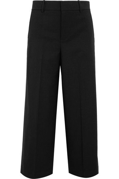 Vince - Cropped Wool-blend Crepe Wide-leg Pants - Black - US10