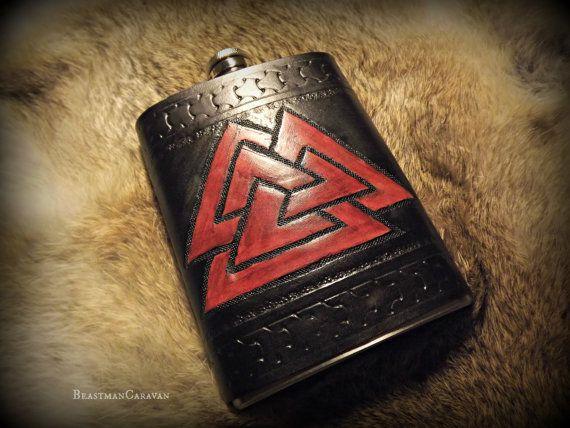 Custom Leather Flask  Viking Inspired Design by BeastmanCaravan