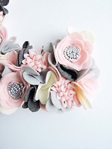 Pink and Gray Felt Flower Monogram, Baby Girl Monogram, Nursery Decor