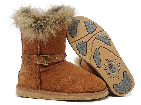 UGG Boots Fox Fur Buckled 5558 Chestnut