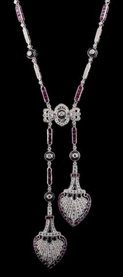 Deco Ruby, Diamond, Onyx Necklace