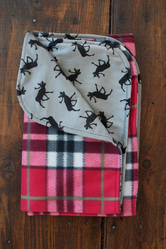 Moose Baby Blanket with Red Plaid / Warm Fleece and by Weepeetz