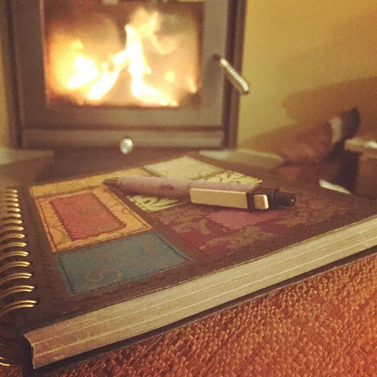 Journalling by the fire on this chilly Winter evening.