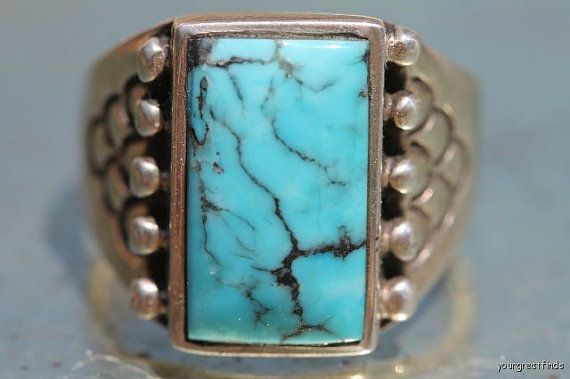 Vintage Signed Navajo Style Sterling Silver  Turquoise Mens Ring -New Old Store Stock via Etsy