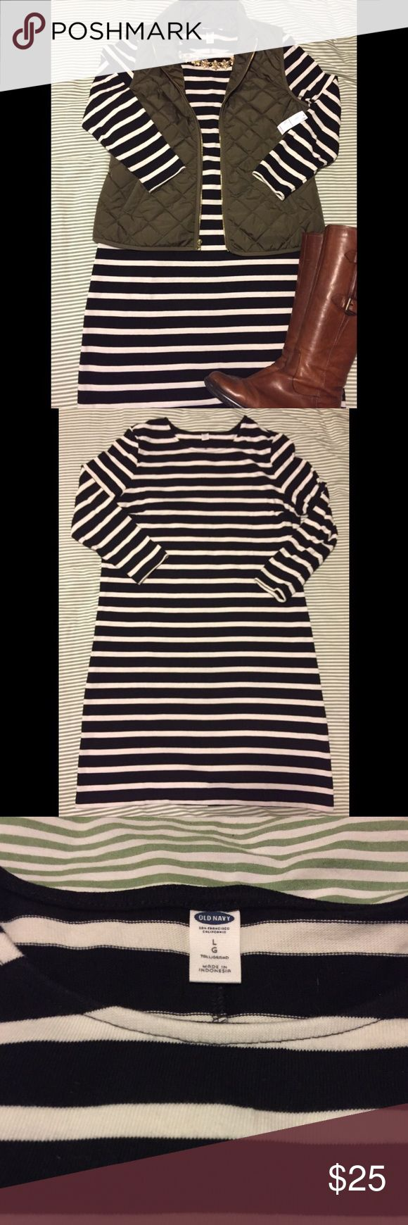 NWT Old Navy Striped Dress - Size Large Tall This black and cream striped t-shirt dress is made of thick 100% cotton. Knee length with 3/4 sleeves. Old Navy Dresses Midi
