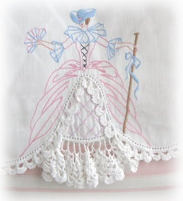 southern bell embroider and crocheted pillow case