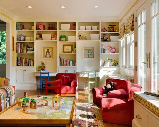 kid friendly family rooms | Family's Needs: Playful Kids Room Red Accents Chair Family Friendly ...