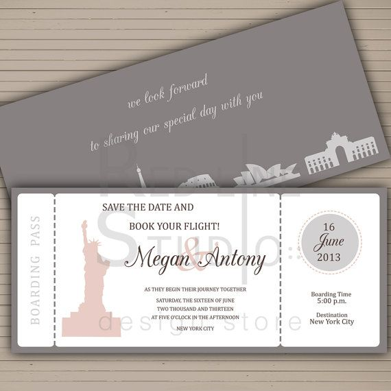 95 best save the date ideas images on pinterest invitations boarding pass save the date card travel themed by redlinecs 2000 junglespirit Images