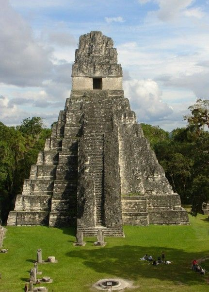 Temple I, Tikal, Gautemala. The temple was used as the tomb of Maya ruler Jasaw Chan K'awiil (r. 682-734 CE). The structure is 50 metres high and the steps climbing to the top are set at an angle of over 70 degrees.