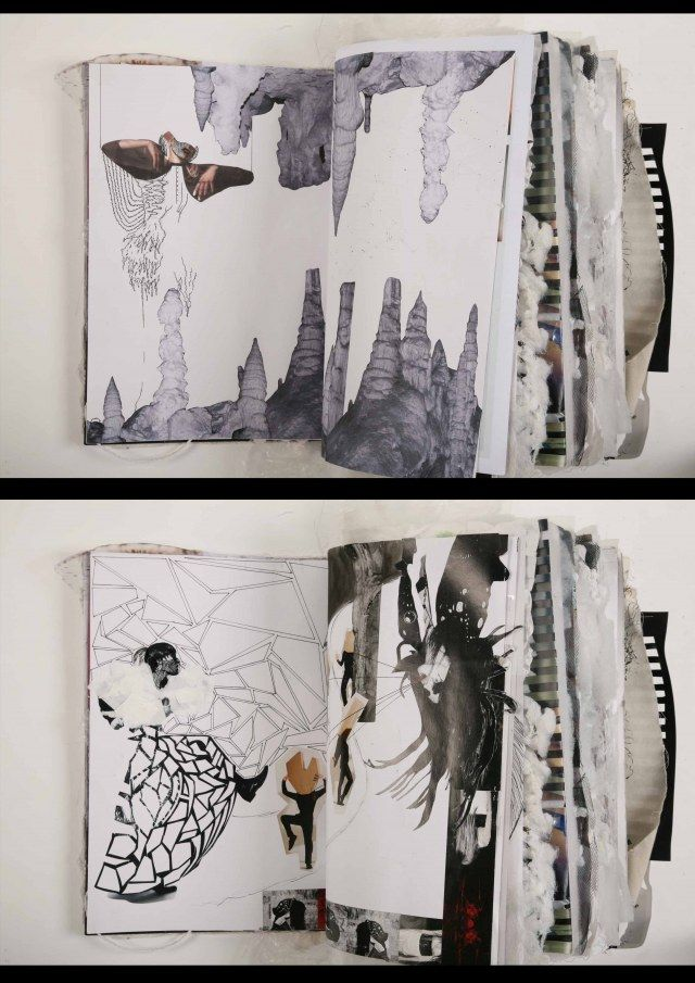 Fashion Sketchbook with a mixed media layout, fashion design drawings, research geometric pattern development; fashion portfolio // Ania Leike