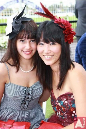 All the Fun, all the Glamour at Diamond Day 2012 at Ellerslie Race Club. Both girls wearing Natalie Chan millinery.