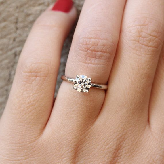 1 Carat Forever Brilliant Moissanite Solitaire Engagement Ring 14k Engagement Rings Affordable Solitaire Engagement Ring Moissanite Engagement Ring Solitaire