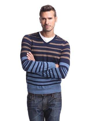 Cullen Men's Multi Stripe V-Neck Sweater