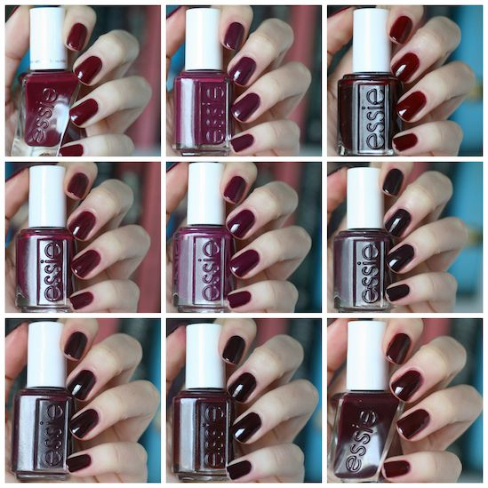 Essie Burgundy Comparison: Bahama Mama, Gala-Vanting, Model Clicks, In the Lobby, Recessionista, Carry On, Sole Mate, Shearling Darling & Skirting the Issue | Essie Envy
