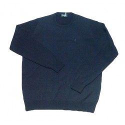 Jersey de lana de cuello redondo en color azul marino para hombre en tallas grandes