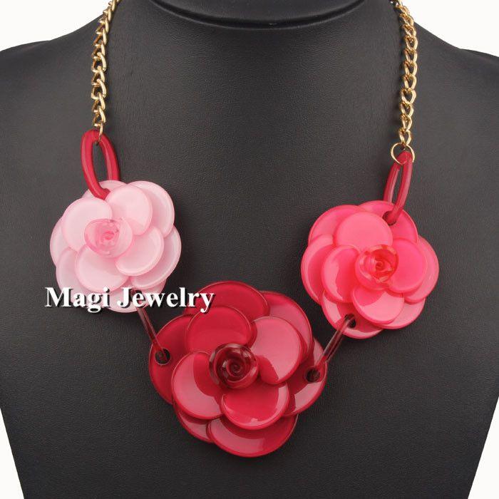 Vivilady большой красный цветок розы ожерелья женщин длинные металлические цепи VIVILADY ювелирные изделия BFWS