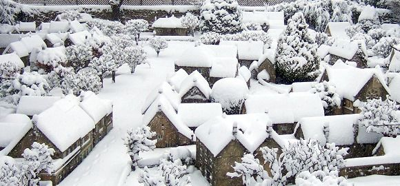 Winter at Bourton-on-the-Water, a one-ninth scale replica of the actual town, Gloucestershire, U.K.
