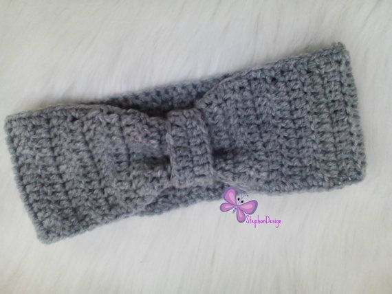 Crochet Baby Headband Knot Headband Baby Girl by StephanDesign
