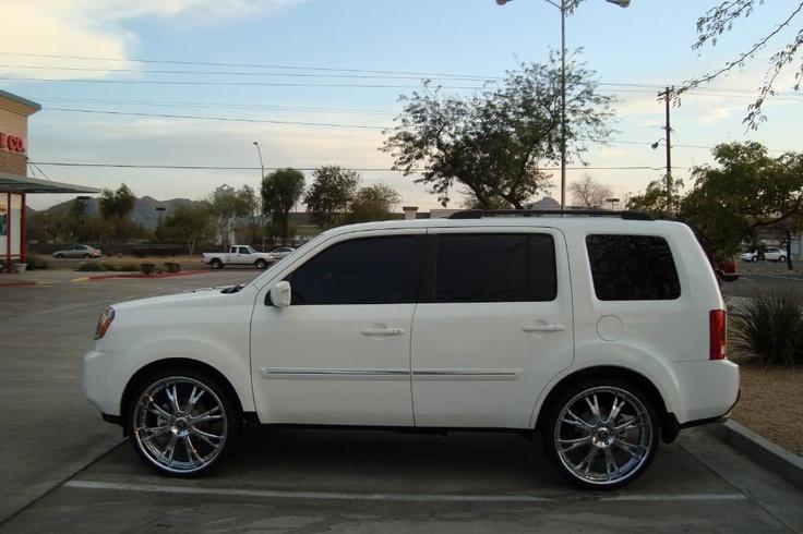 "2010 Honda Pilot Touring  White   w/ 24"" DUB X-12 3 Piece Forged Wheels"